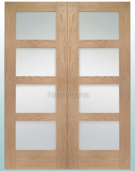 XL Joinery Oak Shaker 4 Light Rebated Door Pair With Clear Glass