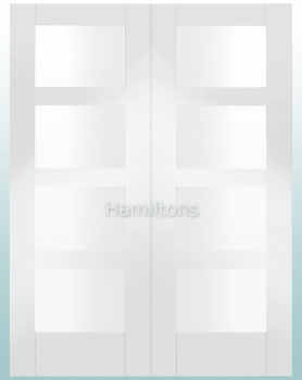 XL Joinery White Shaker 4 Light Rebated Door Pair With Clear Glass