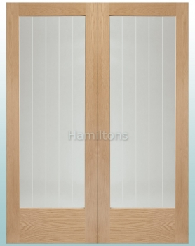 XL Joinery Oak Suffolk Rebated Door Pair With Clear Etched Glass