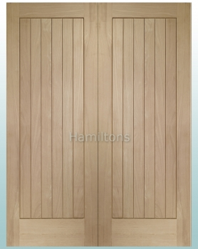 XL Joinery Oak Suffolk Rebated Door Pair With Solid Panels