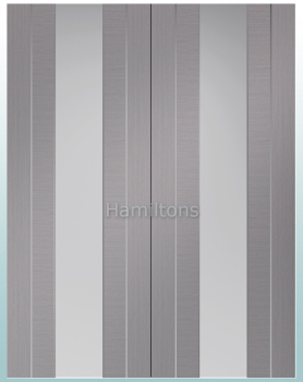 XL Joinery Forli Light Grey Rebated Door Pairs With Clear Glass