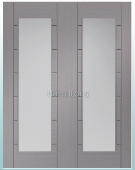 XL Joinery Palermo Light Grey Rebated Door Pairs With Clear Glass