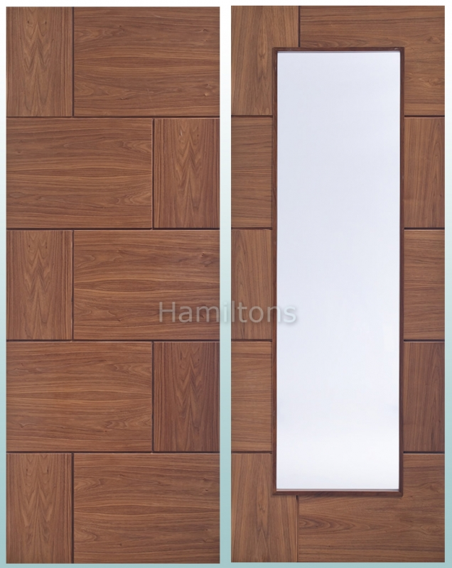 XL Joinery Ravenna Walnut Solid Panel and Clear Glass Doors - Save ...