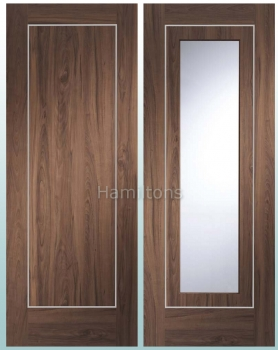 XL Joinery Walnut Varese Panel And Glazed Doors