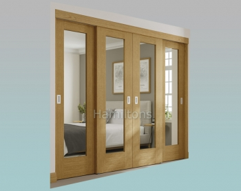 XL Joinery Oak Pattern 10 Mirror Glass Sliding Wardrobe Door System