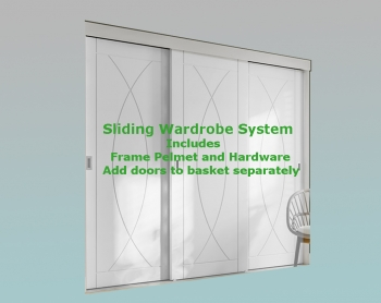 XL Joinery White Frame and Hardware System For Sliding Wardrobe Doors