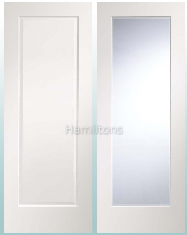 Xl Joinery White Cesena Solid Panel And Clear Bevelled Glass Doors