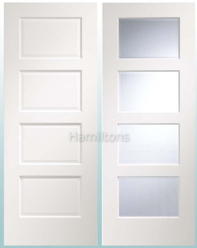 Standard Door & XL Joinery White Severo Panel And Clear Bevelled Glass Doors - Save ...