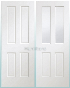 XL Joinery White Victorian Panel And Malton Clear Bevelled Glass Doors