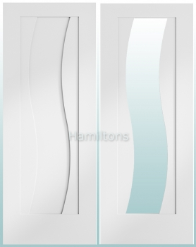 XL White Florence Solid Panel Doors. Clear Glass Doors and Fire Doors