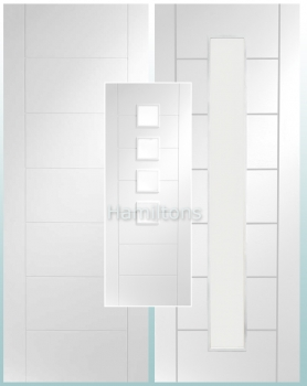 XL Joinery White Palermo Solid Panelled Clear And Obscure Glass Doors