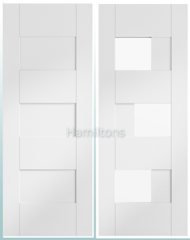 XL White Perugia Solid Panel And Clear Glass Doors