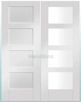 XL Joinery White Shaker Panelled And Clear Glass Doors