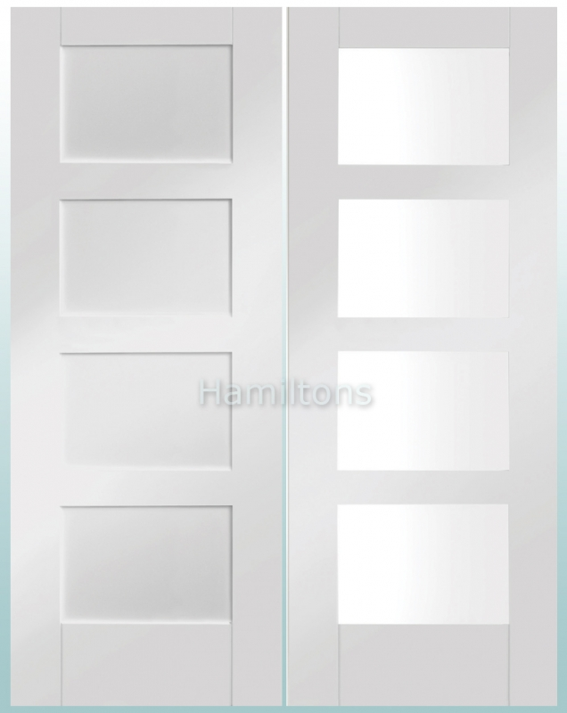 Xl Joinery White Shaker Panelled And Clear Glass Doors Save More