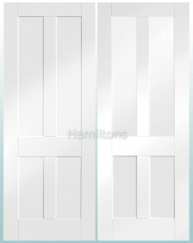 XL Joinery White Victorian Shaker Panel And Malton Shaker Glazed Doors