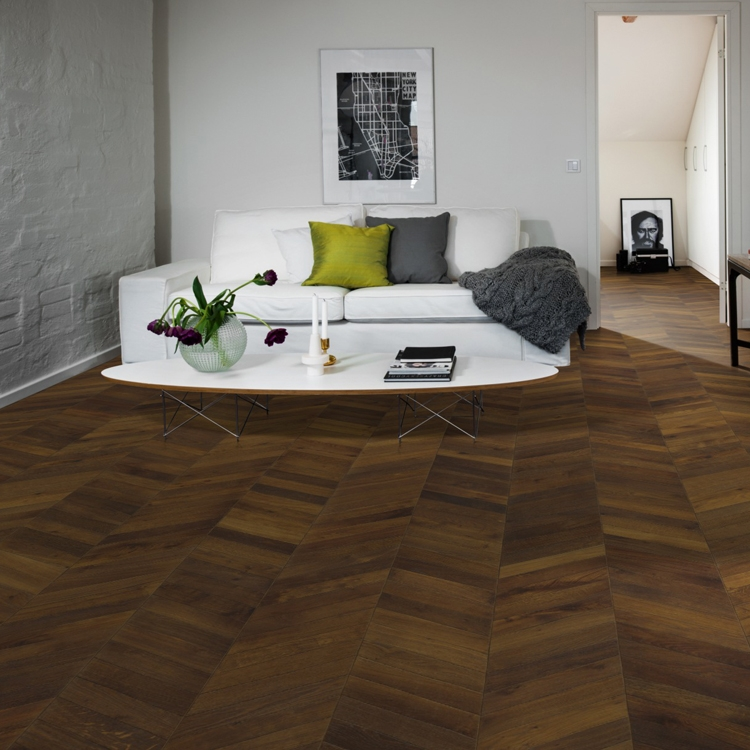 Kahrs Oak Chevron Dark Brown Engineered Wood Flooring Save More At