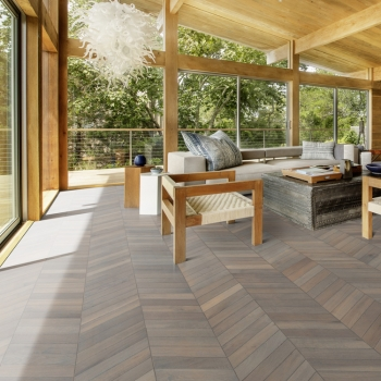 Kahrs Oak Chevron Grey Hand Scraped Wood Flooring