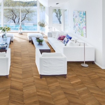 Kahrs Oak Chevron Light Brown Handscraped Wood Flooring