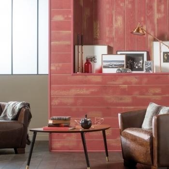 Panaget Bois Mural Cabane Red Oil Wall Panelling