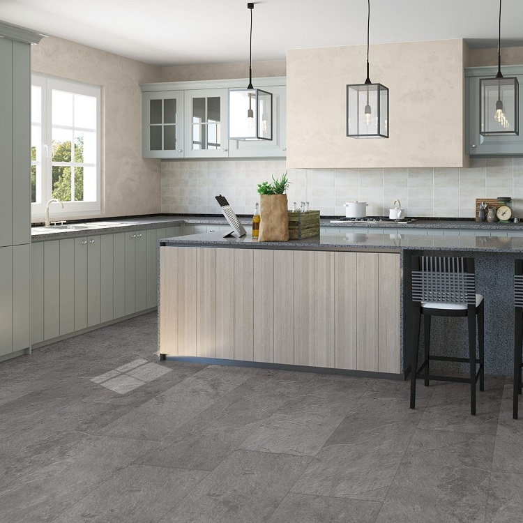 Quick step ambient vinyl flooring grey slate amcl40034 for Quickstep kitchen flooring