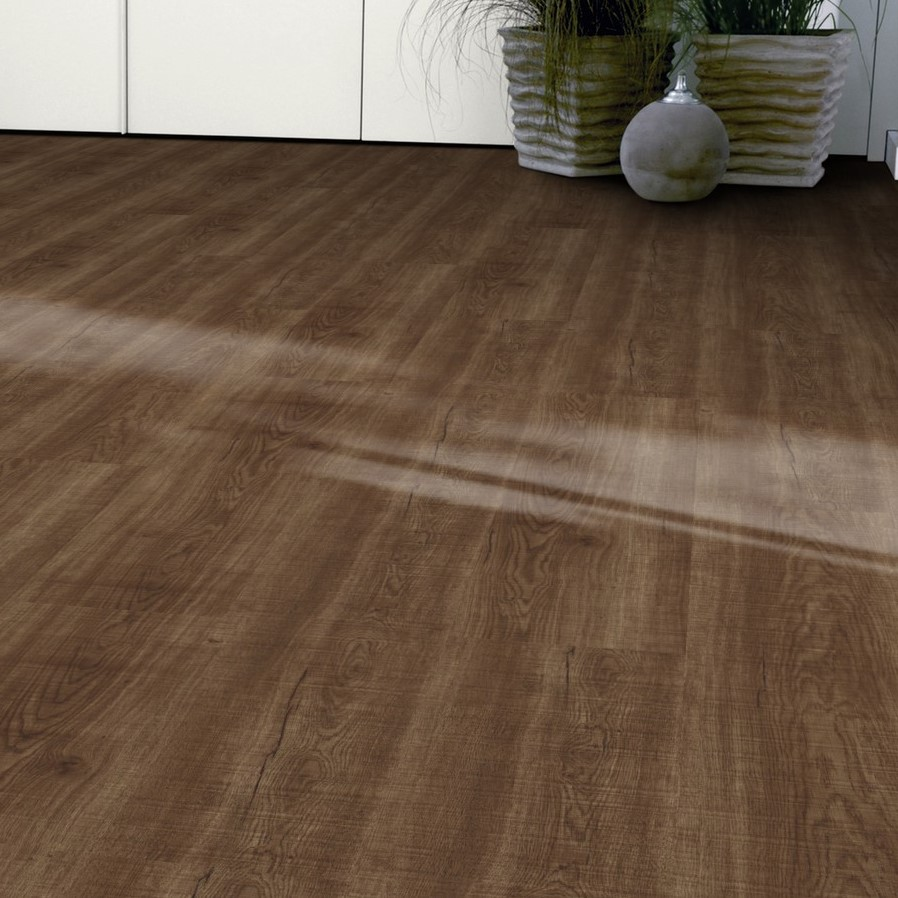 Tarkett id inspiration loose lay sawn oak dark brown vinyl for Tarkett flooring