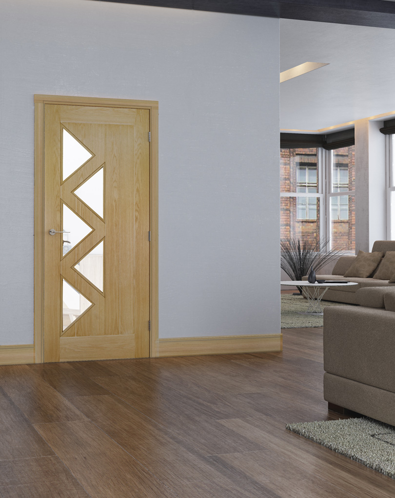 Deanta Oak Ely Panelled And Glass Standard Doors And Fd30