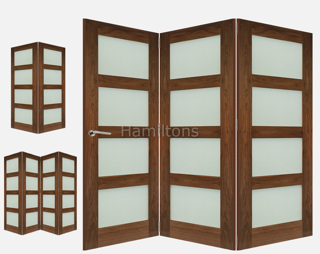 Deanta Walnut Coventry Obscure Glass 2 3 And 4 Folding