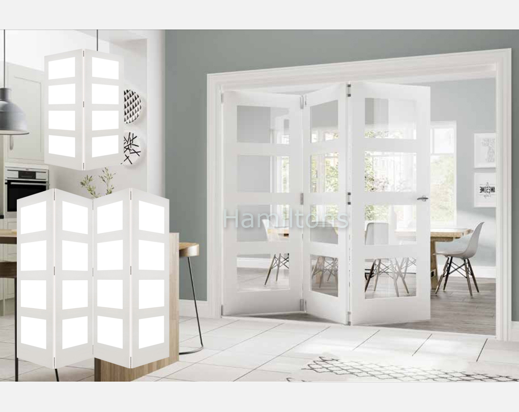 Deanta White Coventry Clear Glass 2 3 And 4 Folding Doors