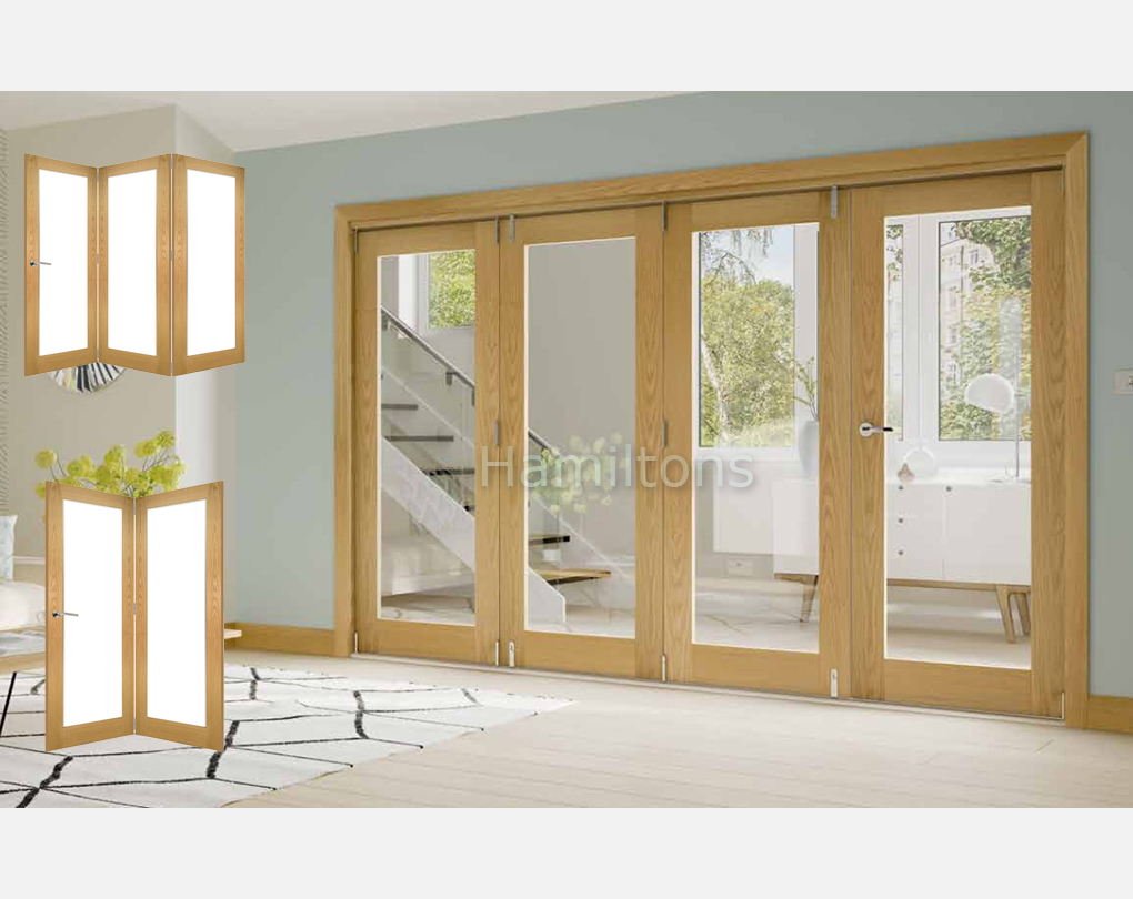 Deanta oak walden clear glass 2 3 and 4 folding doors and for Folding sliding doors