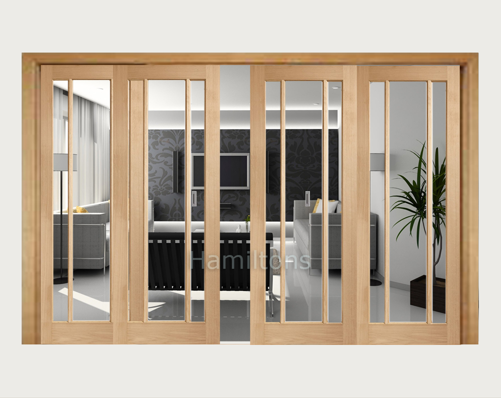Xl Joinery Oak Worcester Clear Glass Sliding Doors With Frame Save