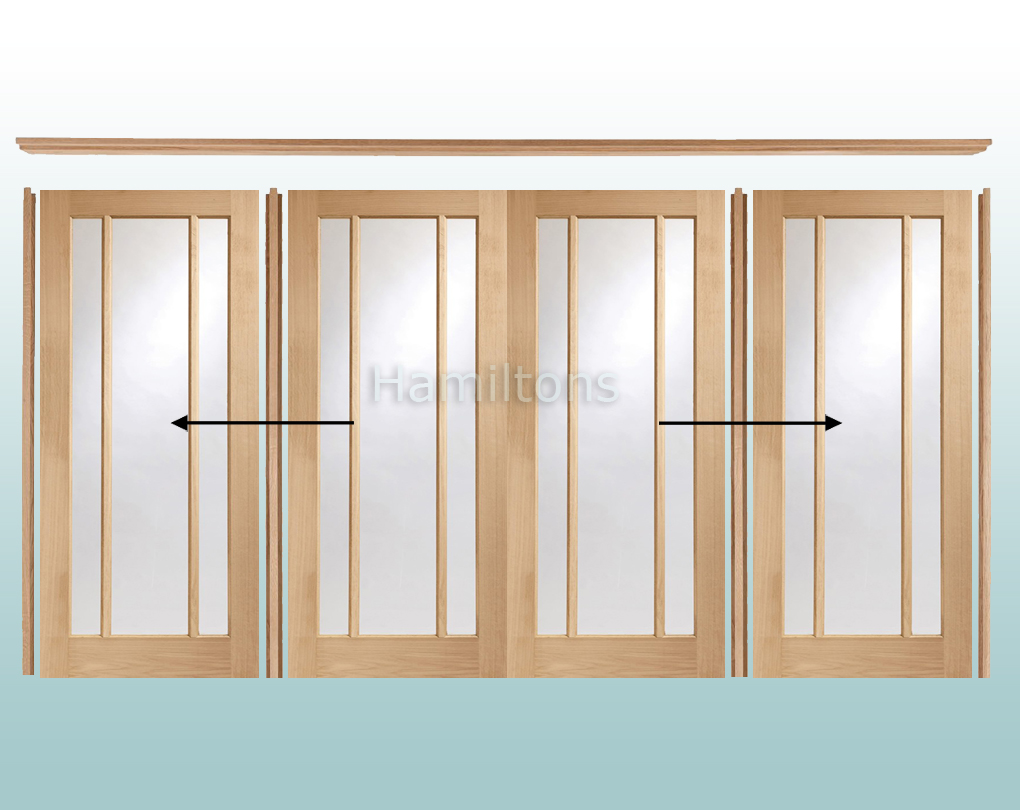 Xl Joinery Oak Worcester Clear Glass Sliding Doors With