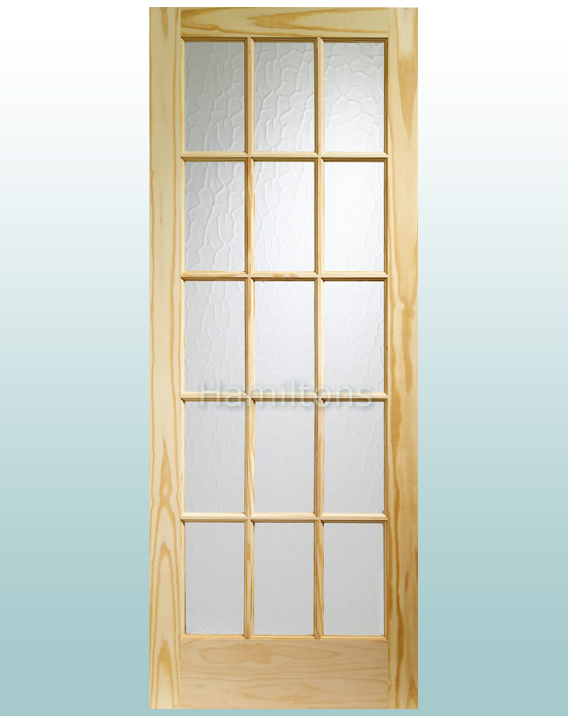 Beau XL Joinery Knotty Pine SA77 15 Pane Obscure Flemish Glass Doors