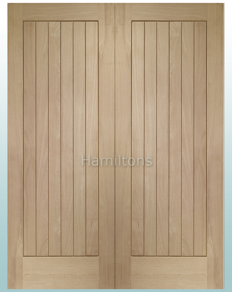 Click to enlarge & XL Joinery Oak Suffolk Rebated Door Pair With Solid Panel - Save ...